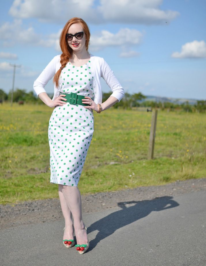 green polka dot pencil dress