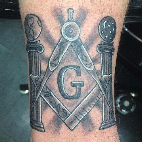 \Black and White Masonic Tattoo