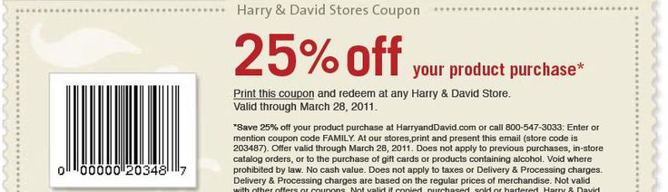 Coupon cabin harry and david