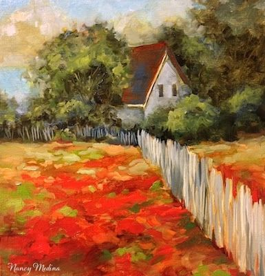 Indian Paintbrush Homestead by Texas Flower Artist Nancy Medina, painting by artist Nancy Medina