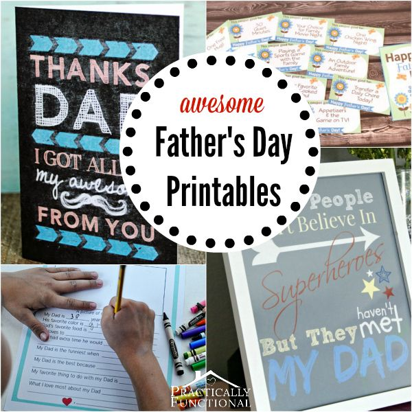 7 free Father's Day printables! Perfect last minute gift for any dad!