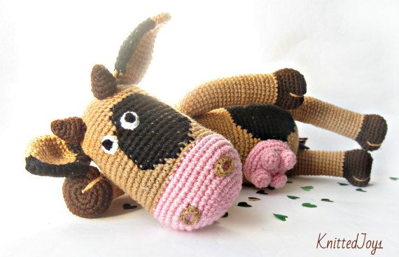 Cow toy cow beige black cow Crochet cow Crochet by KnittedJoy1