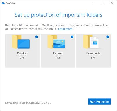 Screenshot of the Set up protection of important folders dialog box