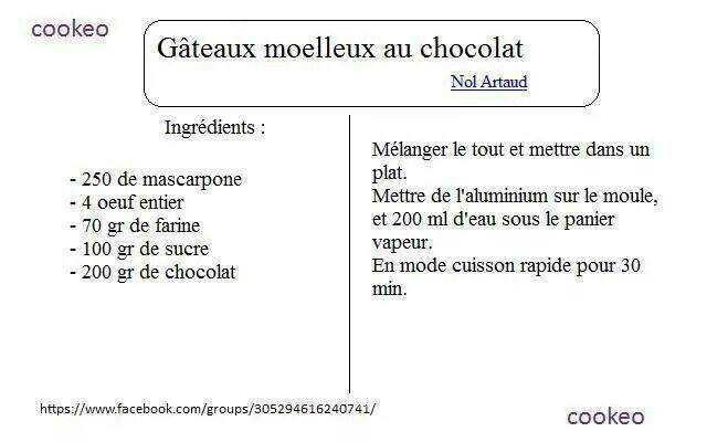 Gateau moelleux au chocolat cookeo pinterest - Recette de noel au cookeo ...