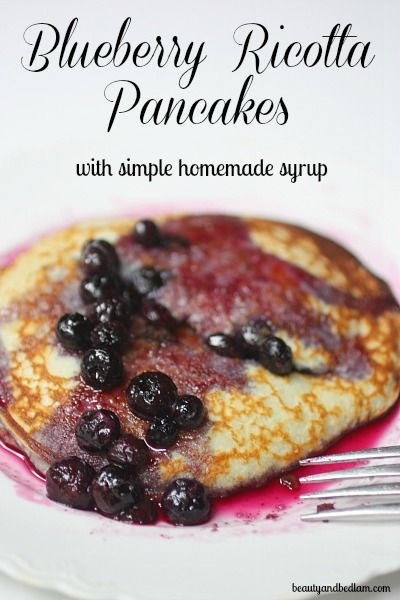 So Very Simple Homemade Blueberry Syrup from www.beautyandbedlam.com    Only four ingredients and mixes up in minutes.