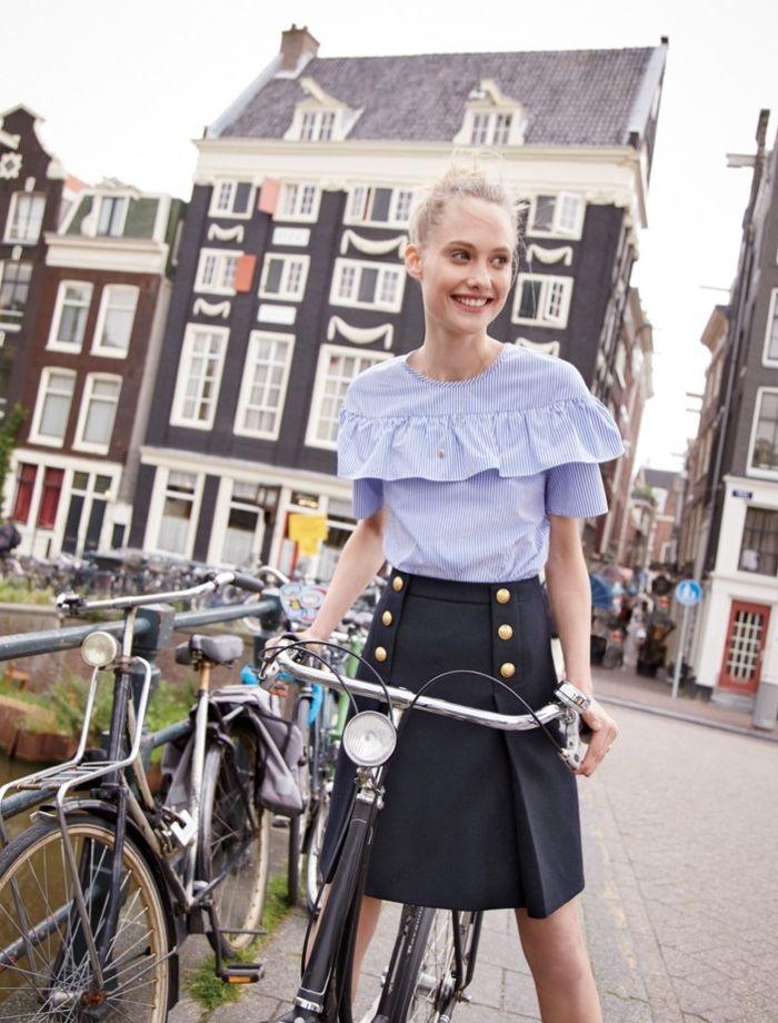 Queeny van der Zande wears Edie Top in Shirting Stripe and Sailor Skirt in Double-Serge Wool for 2016 lookbook