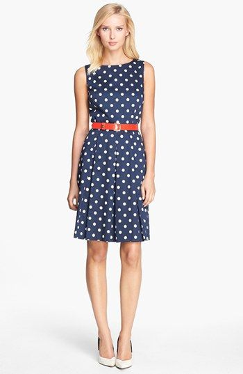 Belted Polka Dot Fit And Flare Dress Pretty Outfits