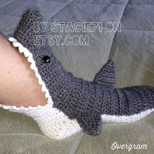 Crochet Shark Slippers Free Pattern For Adults : Pinterest