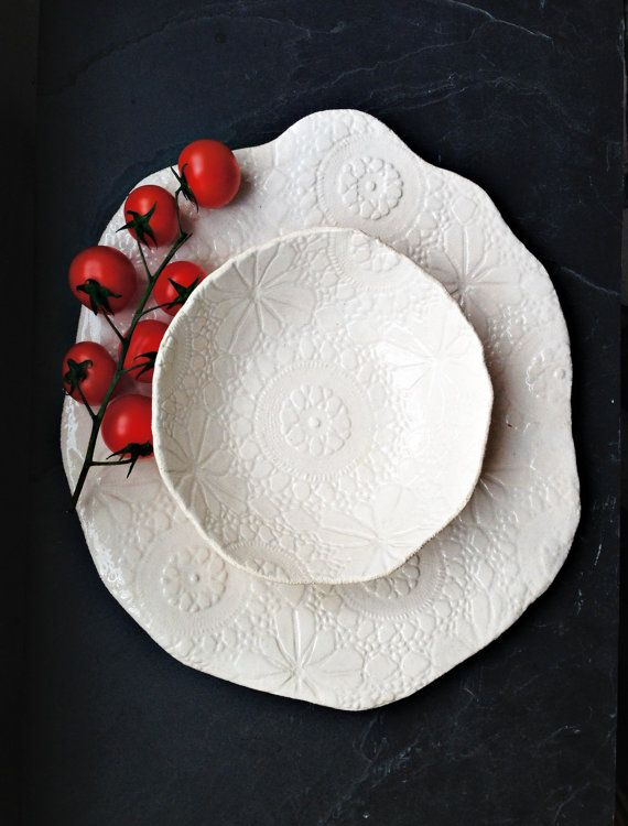 Serving platter and bowl set - Unique cream - white handmade stoneware ceramic tableware with lace texture Dinnerware or decorative pottery