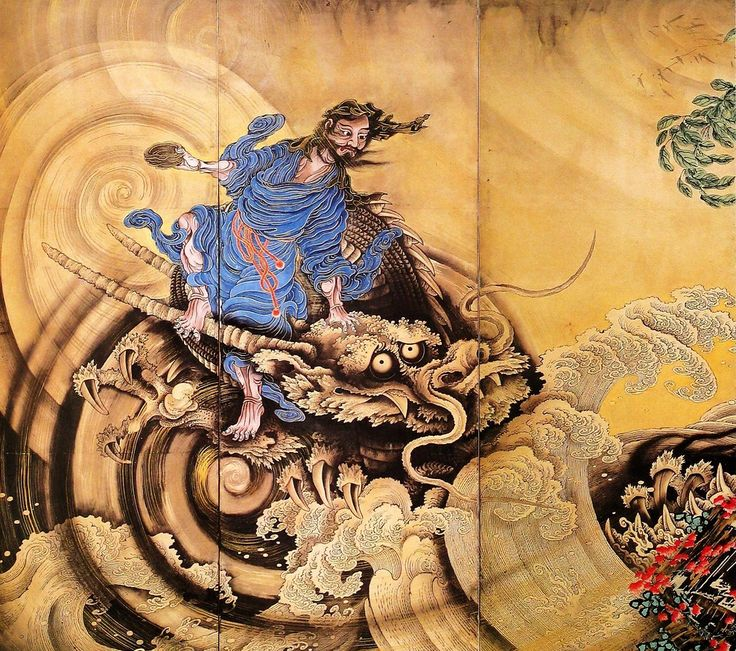 Gunsen Zu / Chinese Immortals, 1764 by Sogo Shohaku    Three parts from six parts folding screen (byobu)