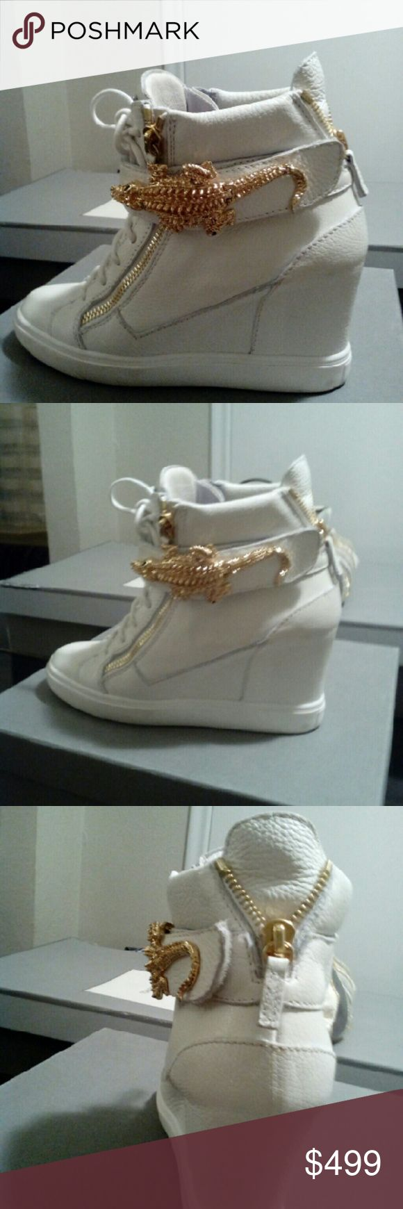 Guiseppi zanotti sneakers. New with box. White sneakers with gold alligator. New year sale! Sale! guiseppi zanotti Shoes Athletic Shoes