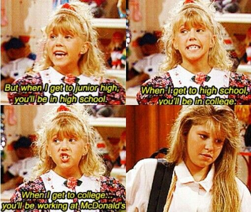 """When I get to college...you'll be working at McDonalds."" Stephanie was definitely my favorite #FullHouse kid :) #Early90's"