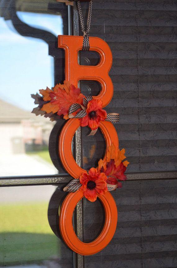 Orange BOO Door Hanger by CraftyBirdBoutique on Etsy, $35.00