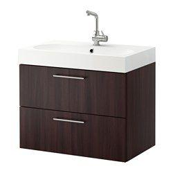 "GODMORGON / BRÅVIKEN Sink cabinet with 2 drawers - black-brown, 31 1/2x19 1/4x26 3/4 "" - IKEA"