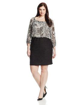 Gabby Skye Women's Plus-Size Long Sleeve Blouson Dress