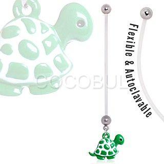 BioFlex Green Baby Turtle Pregnancy Navel Ring $6.99   #pregnant #preggers #expecting #mom #mommy #newmom   #green #turtle #cute #bellyring #navelring #piercing #bodymod  #bodyjewelry #jewelry  #cocobul #cocobulbodyjewelry