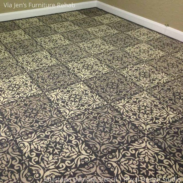 Anastasia Damask Tile Wall Stencil Flooring Ideas