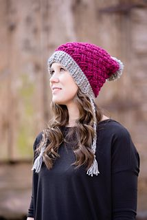 The Celtic Weave Mini Slouch provides warmth and a beautifully textured look! Crochet pattern by #TwoBrothersBlankets #mmmakers #crochet