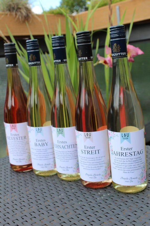 5 Flaschenetiketten für Wein zum Selberdrucken – Hochzeitsgeschenk Geldgeschenk – Meilensteine einer Ehe