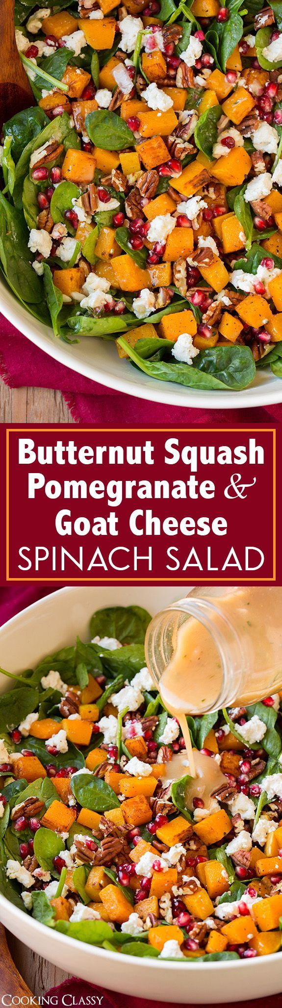 Butternut Squash, Pomegranate and Goat Cheese Spinach Salad with Red Wine Vinaigrette - definitely one of my FAVORITE fall/winter salads!! The flavors are blend perfectly.: