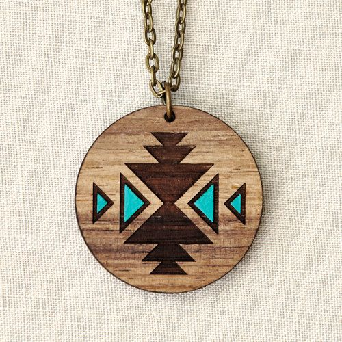 Navaho - Geometric Aqua Wood Necklace - Navajo tribal - laser cut - tattoo inspiration