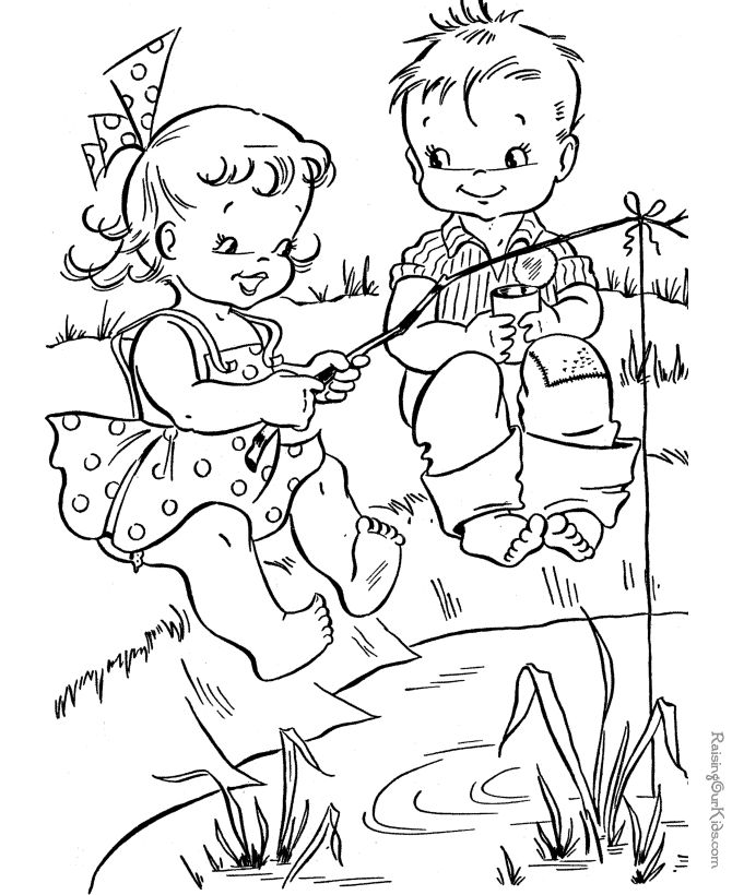 summer fishing coloring page - Coloring Fun Pages