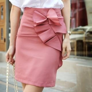 pink ruffle trim pencil skirt