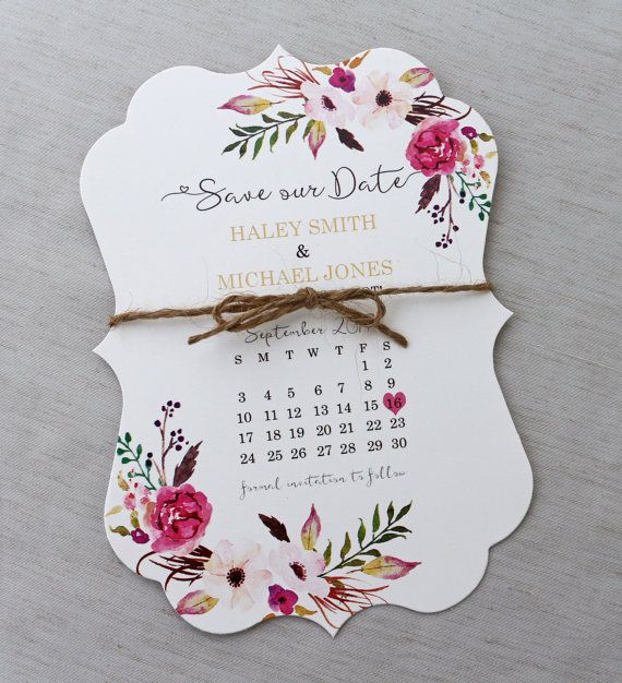 Calendar Save the Date Card  Floral Wedding Save the date