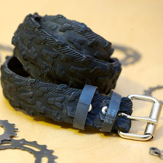 Bicycle Tire Belt - Mountain Bike Tread.  I bought this for my boyfriend for Christmas!