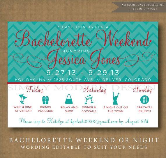 chevron bachelorette party invitation, PRINTABLE