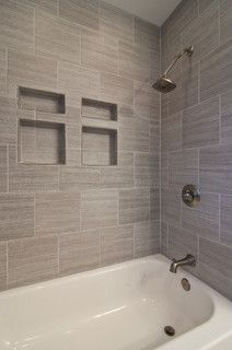 gray tile horizontal - contemporary - bathroom - nashville - by Franks Home Maintenance