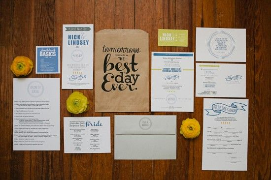 """""""Best Day Ever"""" rehearsal dinner kit with photobooth tips and a list of phone numbers to make sure nobody bothered the bride on the wedding day. Genius! - design by Brooke Courtney: Wedding Parties, Wedding Schedule, Paper Bags, Rehearsal Dinners Invitations, Invitations Suits, The Bride, Bridal Parties, Wedding Rehearsal, Wedding Day Schedule"""