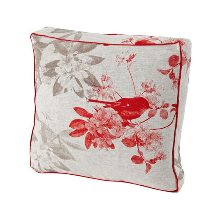 Bonnie and Neil - 100% linen box cushion hand screen printed with robin design in red finished with cream cord piping.