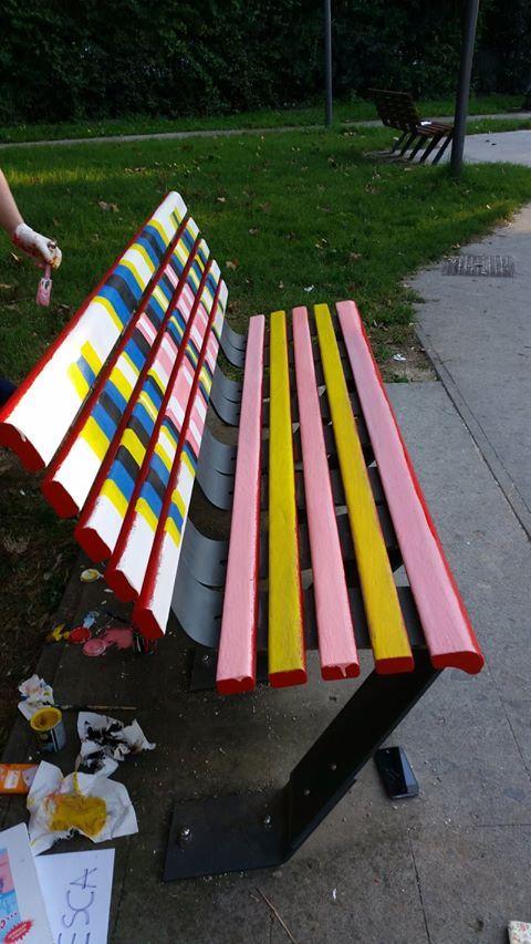 Bench in via Giovannipoli Park (Rome, Italy). Retake Roma community art work