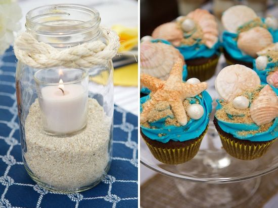 Candle and rope mason jar (not the cupcakes)