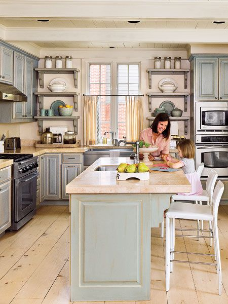 I'm loving the color of these kitchen cabinets and the wide plank, light wood floors.Ideas, Cabinets Colors, Open Shelves, Kitchens Design, Dreams, Islands, Stainless Steel, White Kitchens, Painting Cabinets