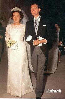 goddesssaintnoblewomannun:  Wedding of Infanta Pilar of Spain and  Don Luis Gómez-Acebo, May 5, 1967