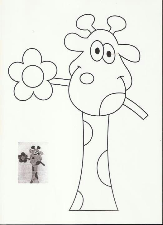 Carita de jirafa con flor. Dibujo