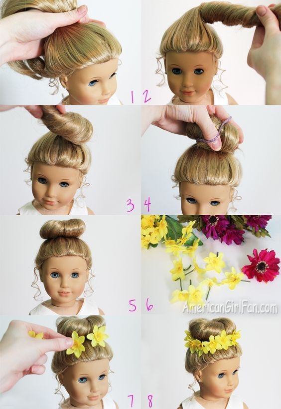 American Girl Doll Hairstyle: Bun + Flower Crown. How pretty! Can't wait for my daughter to try this on one of her AG dolls!