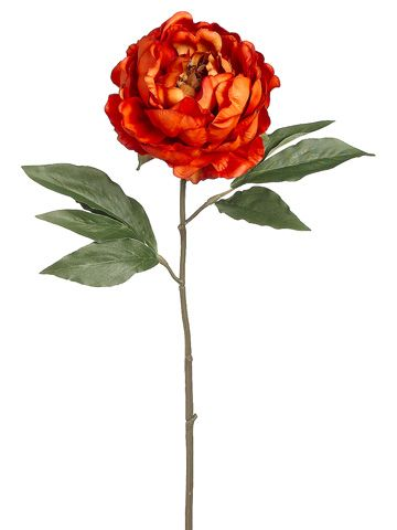 18 5 Quot Peony Spray In Burnt Orange Only 3 99 Silk Flowers