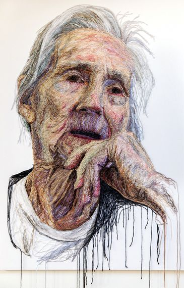 Dementia Darning - Art created with stitches by a very talented woman who cared for her mother. Mum With White T-Shirt and Balck Cardigan Hand