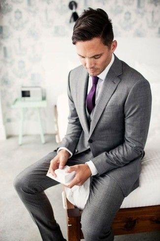 Men's Grey Three Piece Suit, White Dress Shirt, Purple Tie