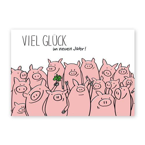 Viel Glück im neuen Jahr!, Neujahrskarten – doodle AJ