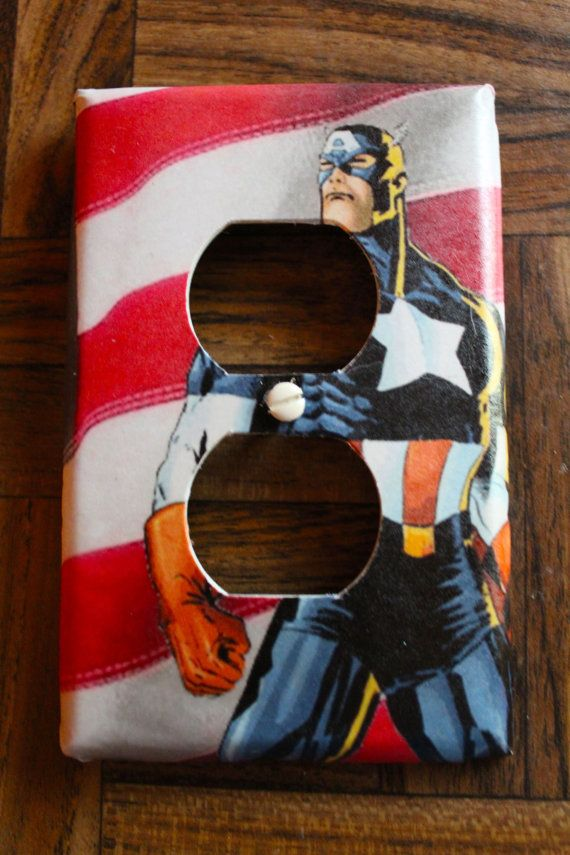 Captain America Handmade Plug   cover plate    Great Stocking Stuffer !!!!!!!!!  What's the one thing that every home / apt has and there all exactly the same ...Light Switches  Why not make yours unique and personalized!!!    - Unbreakable light switch cover plate    - Screws are included    - Plates receive a final coat of varnish to ensure durablility and easy cleaning    * Plates are available in a large variety of sizes and designs, double, triple, rocker etc.    I also do custom…