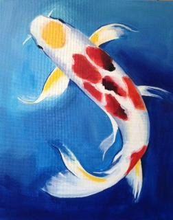 FREE SHIPPING  BEAUTIFUL Japanese Koi Fish Painting by ArtInfused, $129.00
