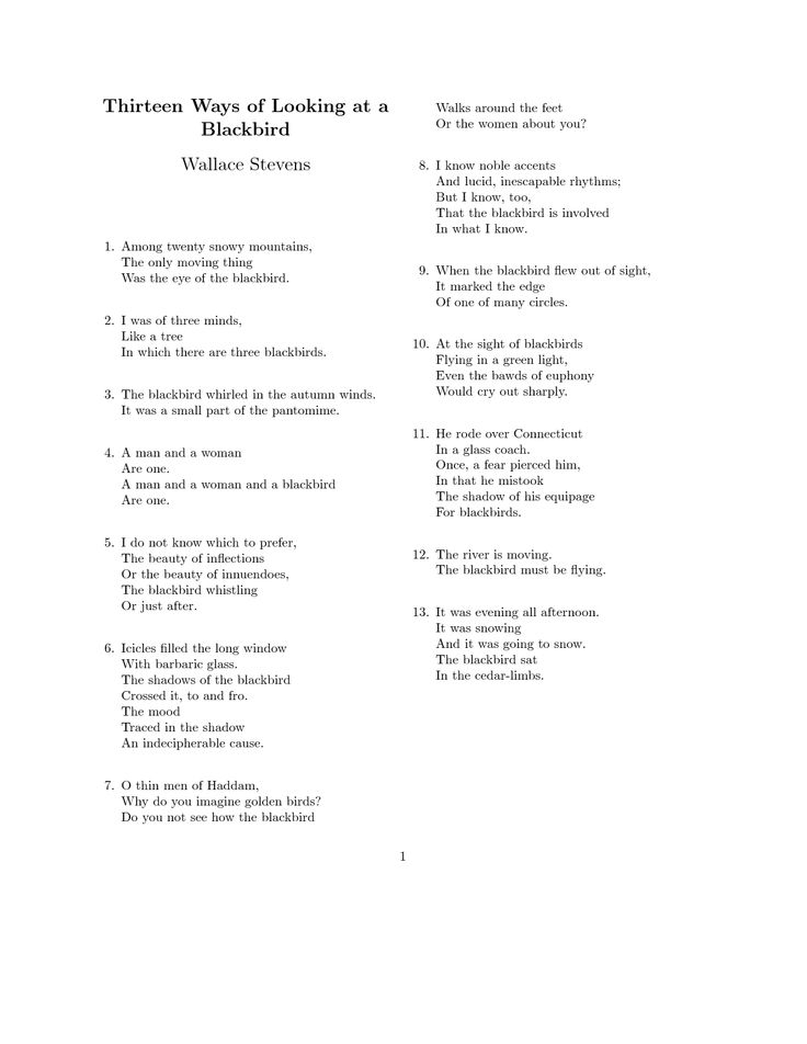 Wallace Stevens - Thirteen Ways of Looking at a Blackbird: Poems Poets, Rubber Bands, Quote, Perfect Poems, Favorite Poems