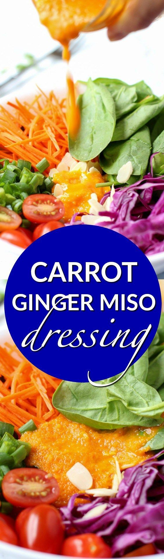 Carrot ginger miso dressing is a fresh and bright salad dressing that can easily be made at home in 5 minutes with 7 simple ingredients.  www.kimchichick.com