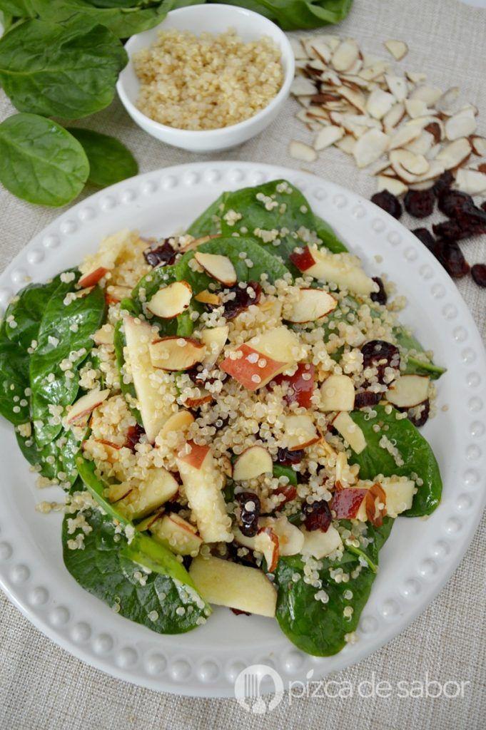 Ensalada de quínoa con espinaca www.pizcadesabor.com