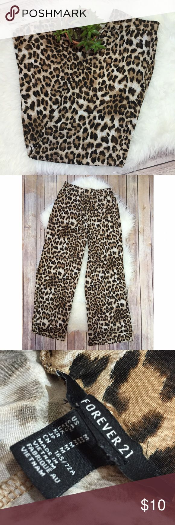 Leopard Silky Lounge Pants #24 Size M from Forever21! I wear them with white blouses and pointy toed flats!! My dad thinks they are Pj's but I bought them in the dressier section of Forever 21 :) so really they can be worn both ways Forever 21 Pants Straight Leg