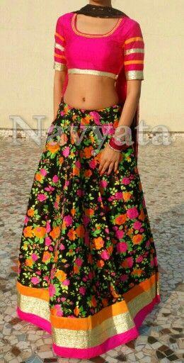Designer lehenga choli, Floral print Silk lehenga choli